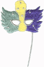 2'' by 3'' Mardi Gras Mask Iron On Applique