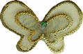 Olive - Beaded, Sequined Organza Butterfly Applique 1 1/8'' by 3/4''Olive - Beaded, Sequined Organza Butterfly Applique 1 1/8'' by 3/4'' butterfly applique