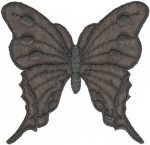 Organza Black/Silver Iron On Butterfly Applique - 4 1/2