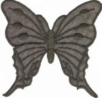 Iron On Black/Gold Organza Butterfly Applique -4 1/2