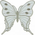 Iron on White/Silver Organza Butterfly Applique - 4 1/2