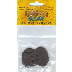 """1 1/2"""" by 2"""" Leather Conchos - 2 per pack - Dark Brown, Turquoise"""