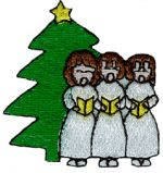 1 7/8'' by 2'' Iron On Christmas Carolers Applique1 7/8'' by 2'' Iron On Christmas Carolers Applique