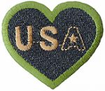 2 1/4'' by 2'' USA Denim Heart Iron On Applique.2 1/4'' by 2'' USA Denim Heart Iron On Applique. Iron On Heart