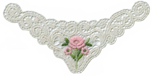 7 1/4'' by 3 3/8'' Off White with Pink Flower Applique