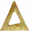 1'' by 1'' by 7/8'' Iron On Metallic Gold Triangle Applique1'' by 1'' by 7/8'' Iron On Metallic Gold Triangle Applique