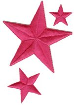 3'' - 7.6cm - Iron On Bright Pink 3 Piece Star Set3'' - 7.6cm - Iron On Bright Pink 3 Piece Star Set star applique