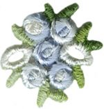 7/8'' by 3/4'' Iron On Blue Embroidered Flower Applique7/8'' by 3/4'' Iron On Blue Embroidered Flower Applique