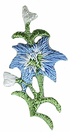1'' by 1/2'' Iron On Blue Flower Applique1'' by 1/2'' Iron On Blue Flower Applique
