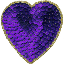 """Purple/Gold 3"""" Pin Back Beaded/Sequin Heart Appliques-0"""