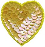 1 7/8'' by 2'' Yellow Beaded & Sequin Heart Applique with Pin Back1 7/8'' by 2'' Yellow Beaded & Sequin Heart Applique with Pin Back sequin heart appliques