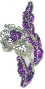 4 7/8'' by 9 3/8'' Purple/Silver Beaded & Sequined Applique4 7/8'' by 9 3/8'' Purple/Silver Beaded & Sequined Applique