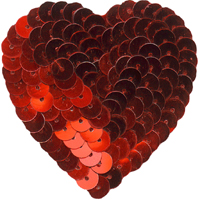 2 1/4'' by 2 1/4'' Red Sequined Iron On Heart Applique heart sequin applique, sequin motif