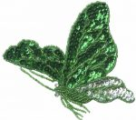 4 3/8'' by 4'' Emerald/Silver Beaded & Sequined Butterfly Applique4 3/8'' by 4'' Emerald/Silver Beaded & Sequined Butterfly Applique butterfly applique
