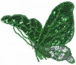 4 3/4'' by 4'' Emerald Green/Silver Beaded & Sequined Butterfly Applique4 3/4'' by 4'' Emerald Green/Silver Beaded & Sequined Butterfly Applique butterfly applique
