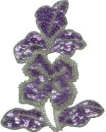 4 5/8'' by 5 3/4'' Lavender Sequin Flower Applique with Silver Beads4 5/8'' by 5 3/4'' Lavender Sequin Flower Applique with Silver Beads