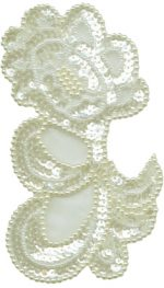 3 3/8'' by 5 1/2'' Beaded & Sequined Applique - 2 Colors3 3/8'' by 5 1/2'' Beaded & Sequined Applique - 2 Colors Beaded/Sequin Applique