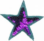 3 1/2'' Turquoise/Purple Beaded & Sequin Star Applique.3 1/2'' Turquoise/Purple Beaded & Sequin Star Applique. star applique