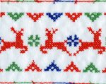 4 3/8'' White Flannel with Reindeer Embroidery4 3/8'' White Flannel with Reindeer Embroidery eyelet lace trim