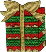 3 1/2'' by 3 1/8'' Iron On Christmas Present Applique3 1/2'' by 3 1/8'' Iron On Christmas Present Applique