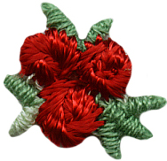 """5/8"""" Package of 10-Red Embroidered Flower Applique. Embroidered flower applique, embroidered flower assortment"""