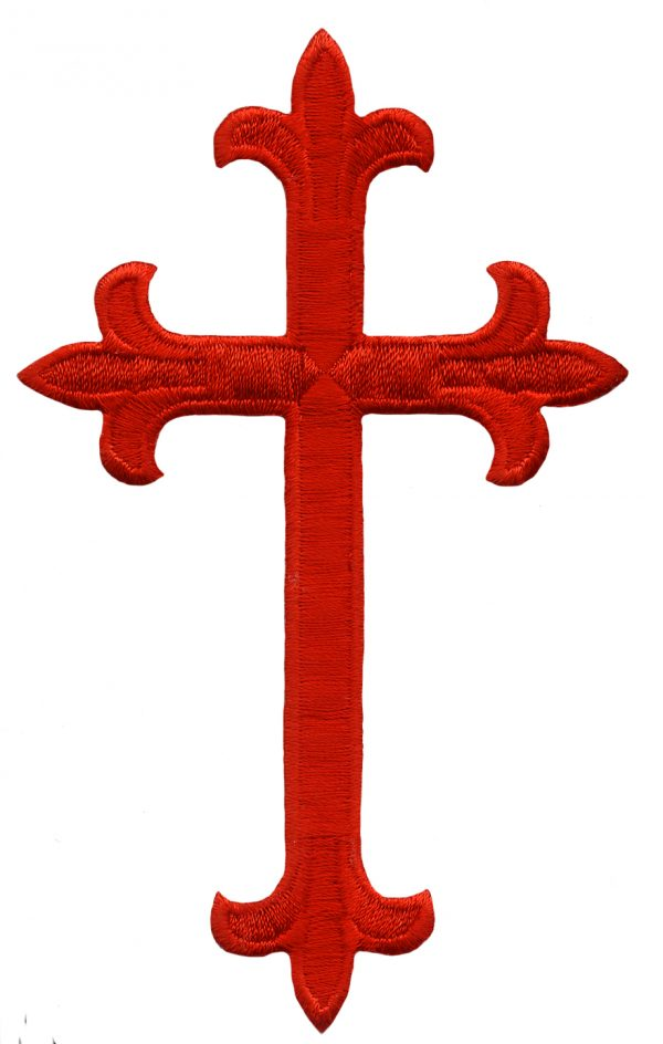 4 5/8'' by 2 7/8'' Red Iron on Cross Applique. cross applique, iron on applique